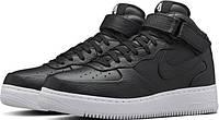 Кеды найк кожаные черные NikeLab Air Force 1 Mid CMFT Black.