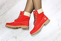 Зимние натуральные ботинки Timberland  красного цвета р 36 37 38 39 40