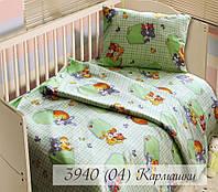 Постельное белье для малышей в кроватку Бязь белорусская Кармашки салатовый