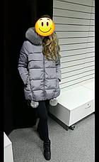 Куртка женская с капюшоном и помпонами звезда на спине, серая-208-071, фото 3