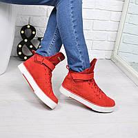 Ботинки женские Timberland Sport Зима красные 3843, ботинки женские