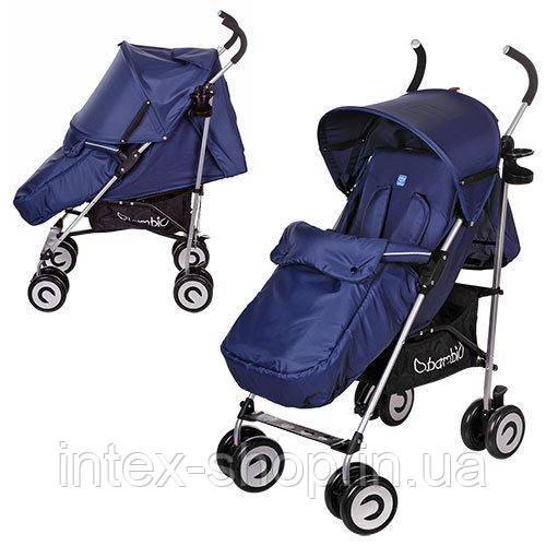 Детская коляска-трость Bambi (M 3459-1) с глубоким капюшоном (Синий)