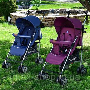 Детская коляска-трость Bambi (M 3459-1) с глубоким капюшоном (Синий), фото 2
