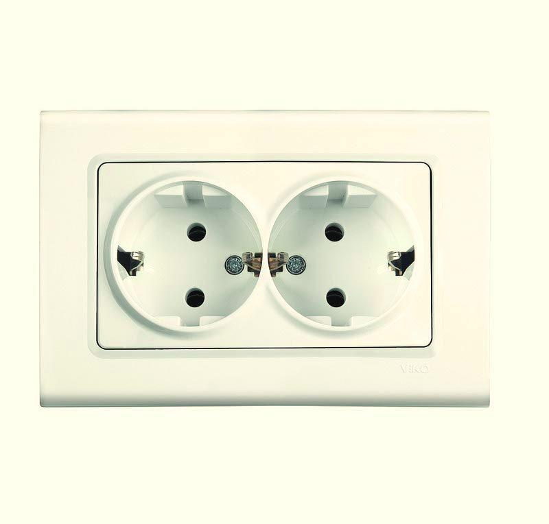 Розетка двойная VIKO Linnera с заземлением Крем 90401056