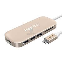 Мультиадаптер для MacBook с USB-C разъемом, HooToo USB-C Hub HDMI/2xUSB 3.0/1xUSB 3.1/CardReader - золотой (HT-UC001G)