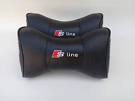 Автомобильная подушка на подголовник в авто автомобиль логотип Audi s-Line чёрный цвет перфорация