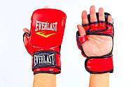 Перчатки гибридные для единоборств MMA PU ELAST  (красный)