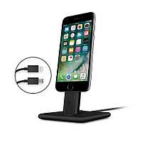 Премиальная, алюминиевая подставка с кабелем Lightning, Twelve South HiRise 2 Deluxe для iPhone и iPad - черная (12-1422)