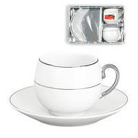 Подарочный кофейный набор MINI Ceram Present серебряный фарфоровый в коробке