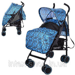 Дитяча коляска-тростина Bambi (M 3430-2) з багажної кошиком (Блакитний), фото 2