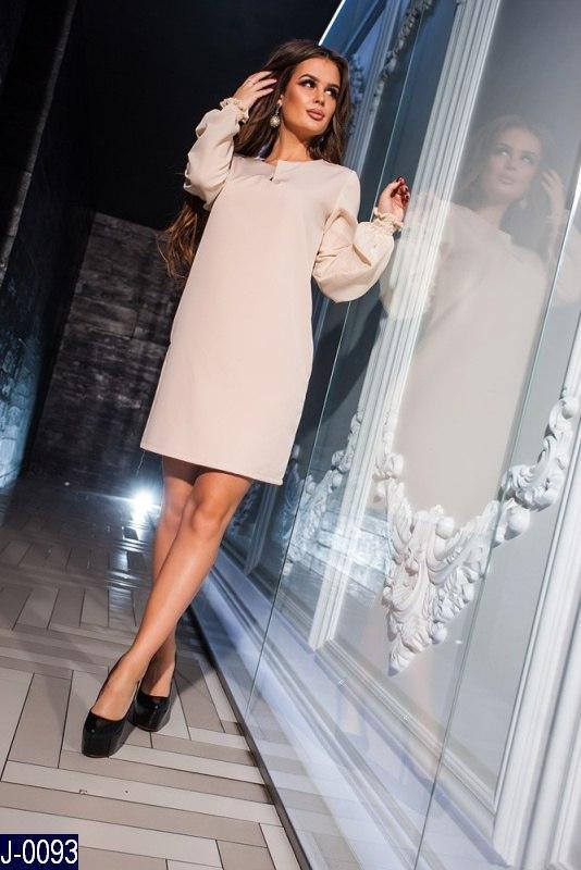 4c57ab80564 Стильное прямое бежевое платье креп с шифоновыми рукавами. Арт-12860 ...