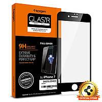 Защитное, закаленное стекло с рамкой черного цвета, Spigen GLAS.tR SLIM для iPhone 7 (042GL20425/X0014PS33R)