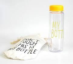 Бутылка Май Ботл, My Bottle желтая с мешочком