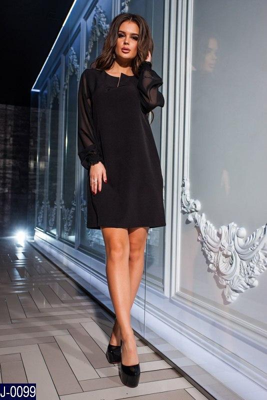 de537b7fa02 Стильное прямое черное платье креп с шифоновыми рукавами. Арт-12860 ...