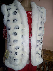 Тепла жилетка на овчині  біла опушка  узор Горошок 42 розмір