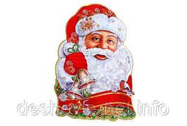"Плакат ""Дед Мороз со звоночками"" с глиттером и флоком. 52см. (5309(5809)-1)"