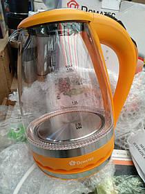 Электрочайник стеклянный с подсветкой Domotec DT-701, 1.8 л