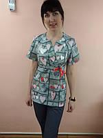 Женский медицинский костюм без застежки сердечки, 48