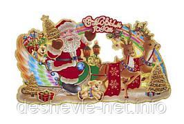"Плакат ""Дед Мороз на санях"" с глиттером и флоком. 57см. (806-1)"