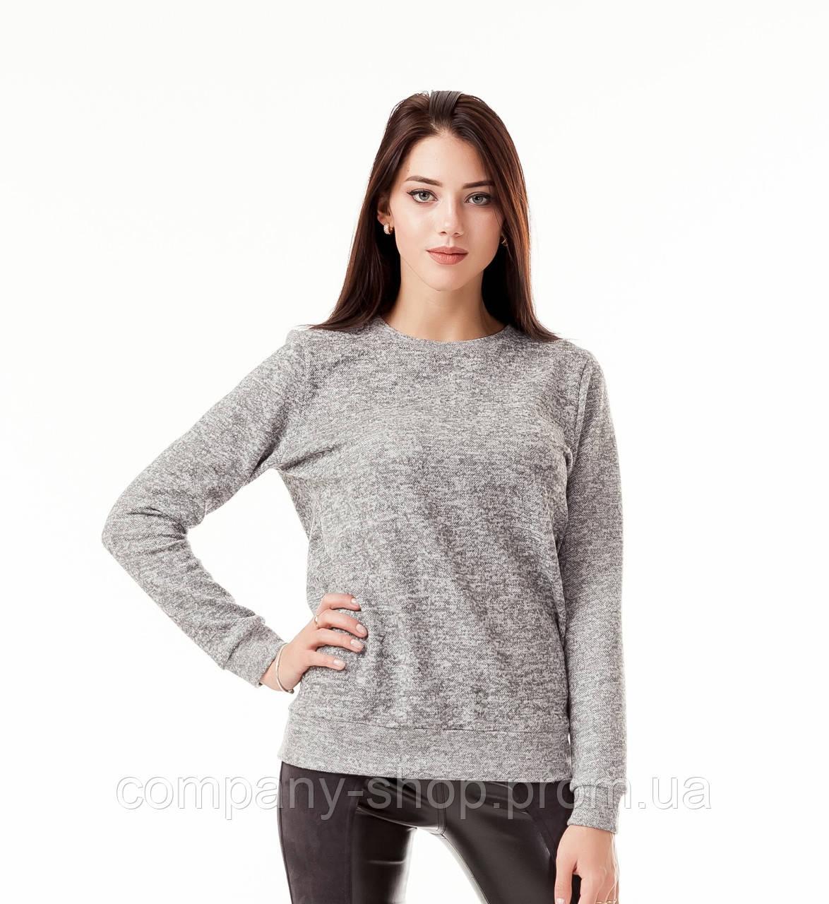 Джемпер женский  с манжетами. Модель К071_серая ангора.