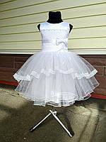 Детское платье праздничное новогоднее Королева белого цвета