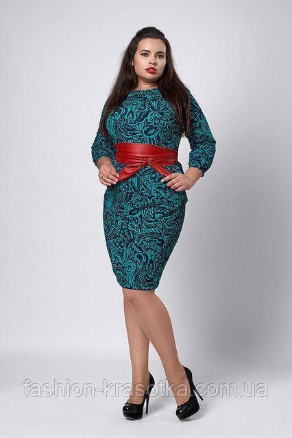 Женское платье  прямого кроя под пояс бирюзового цвета   48-54