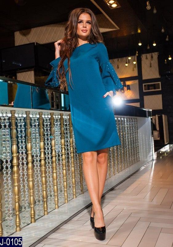 a8751537666 Стильное прямое темно бирюзовое платье креп со стразами на рукавах Арт-12861