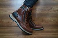 Ботинки мужские в стиле Timberland с натуральной кожи с мехом