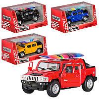 Машинка железная инерционная Kinsmart Hummer 5097: масштаб 1:40, 4 цвета