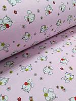 Фланель  на розовом фоне зайчики (ширина 180 см)