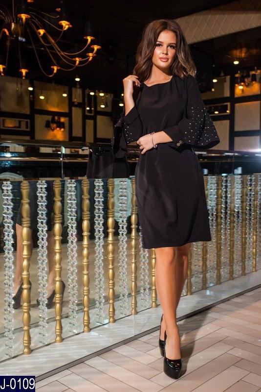 fc4cd52875c Стильное прямое черное платье креп со стразами на рукавах Арт-12861 ...