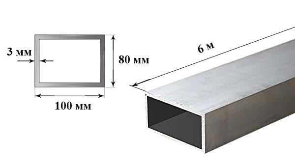 Труба алюминиевая профильная 6060 Т6 размер 100 х 80 х 3 мм