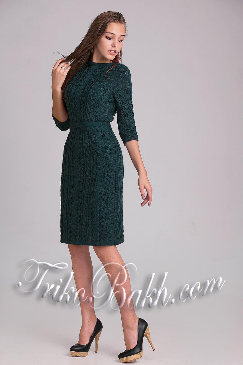Вязаное ажурное женское платье по колено