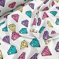 Ткань хлопок с разноцветными бриллиантами  на белом фоне №807
