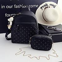 Рюкзак городской женский стеганый с сумочкой на цепочке. Набор (черный)