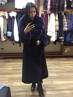Длинное шикарное пальто с мехом песца 44р