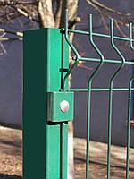 Столб для установки 2 х метровго забора из сетки, зеленый с ПВХ
