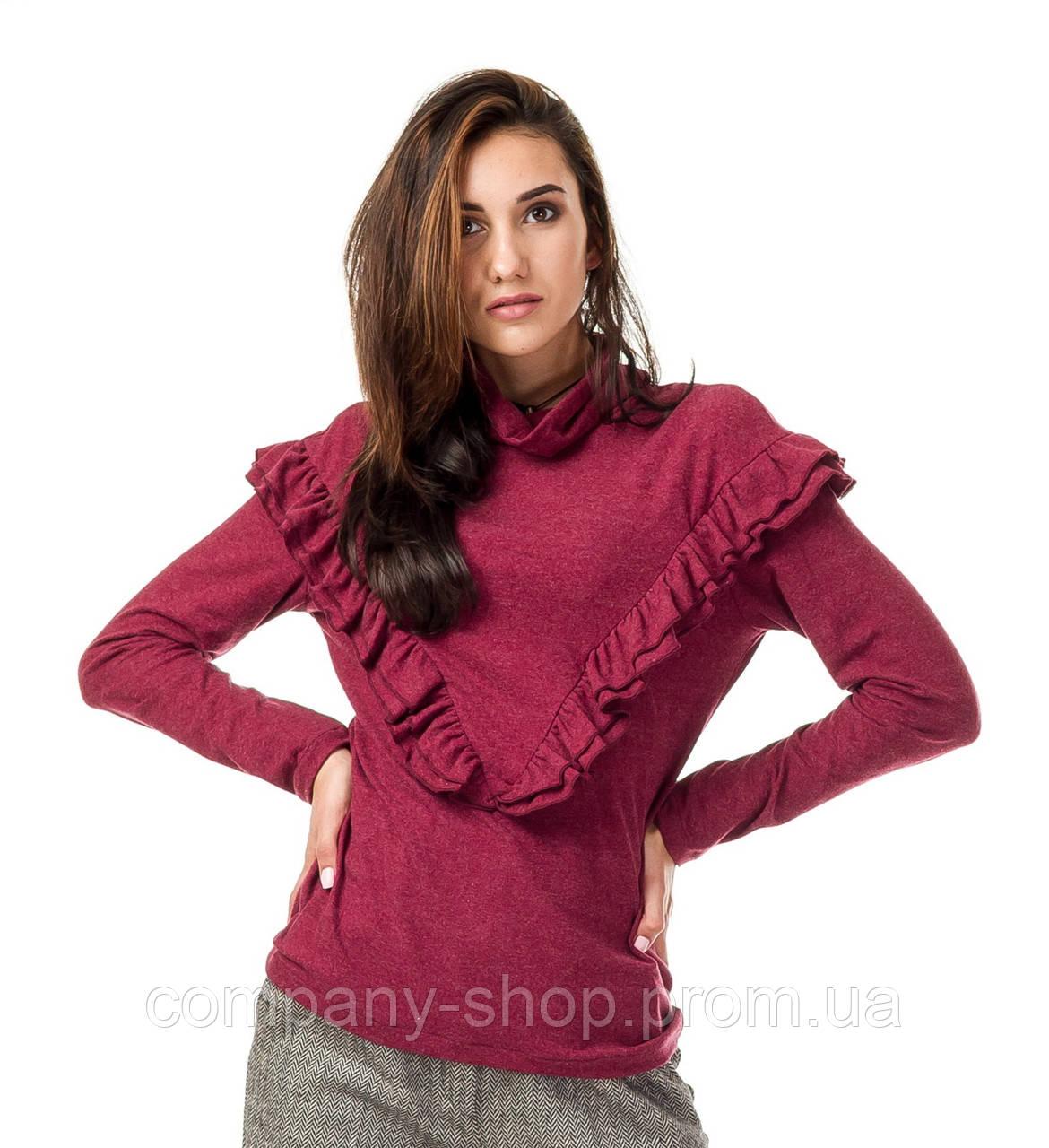 Женский джемпер с высоким воротником и рюшами. Модель К082_бордо поливискон.
