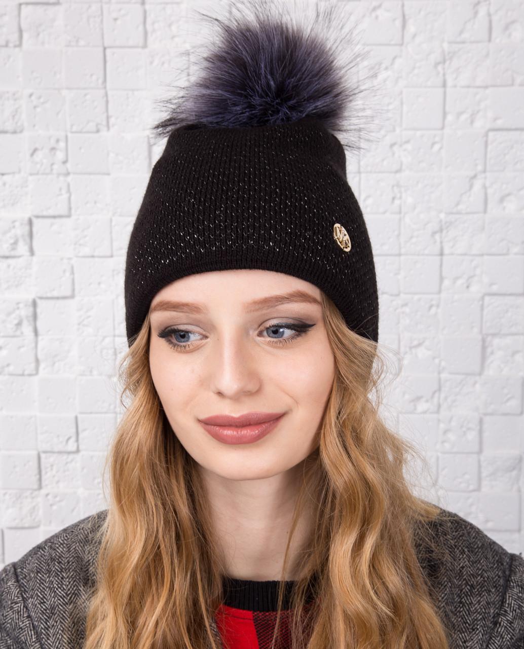 Зимняя вязанная шапка для женщин с меховым помпоном - Артикул 2144