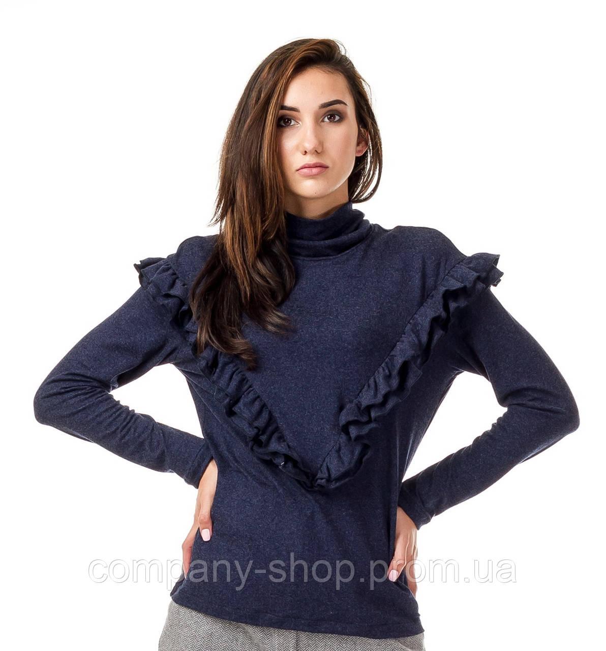 Женский джемпер с высоким воротником и рюшами. Модель К082_синий поливискон.
