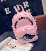 Маленький женский рюкзак с заклепками (розовый мини)