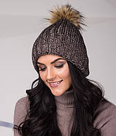 Топовая женская шапка из крупной вязки с помпоном - Арт top-1-3 (кофе)