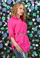 Ярко-розовая рубашка с поясом