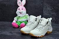 Женские зимние ботинки Timberland бежевые 3600