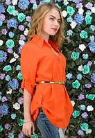 Оранжевая рубашка с поясом