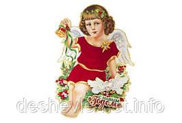"""Плакат """"Ангел"""" с глиттером и флоком. 50см. (1888-1)"""