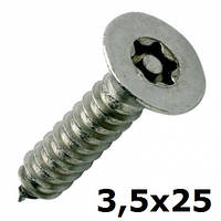 Нержавеющий антивандальный шуруп с потайной головкой, TORX+PIN, 3,5х25