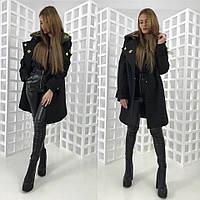 """Зимнее кашемировое пальто в стиле """"милитари"""" с шевронами и мехом на воротнике"""