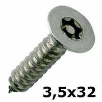 Нержавеющий антивандальный шуруп с потайной головкой, TORX+PIN, 3,5х32