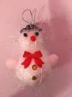 Елочный снеговик с блестящими нитками